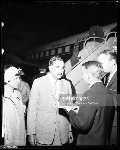 Airport arrival 30 June 1958 Doctor Edward Teller Mrs Edward TellerSupplementary material reads 'From News Bureau Pan American World Airways Dr...