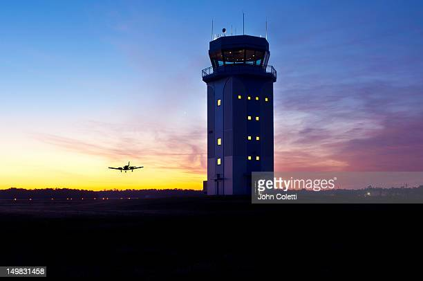 airport control tower at dawn - control tower stock pictures, royalty-free photos & images