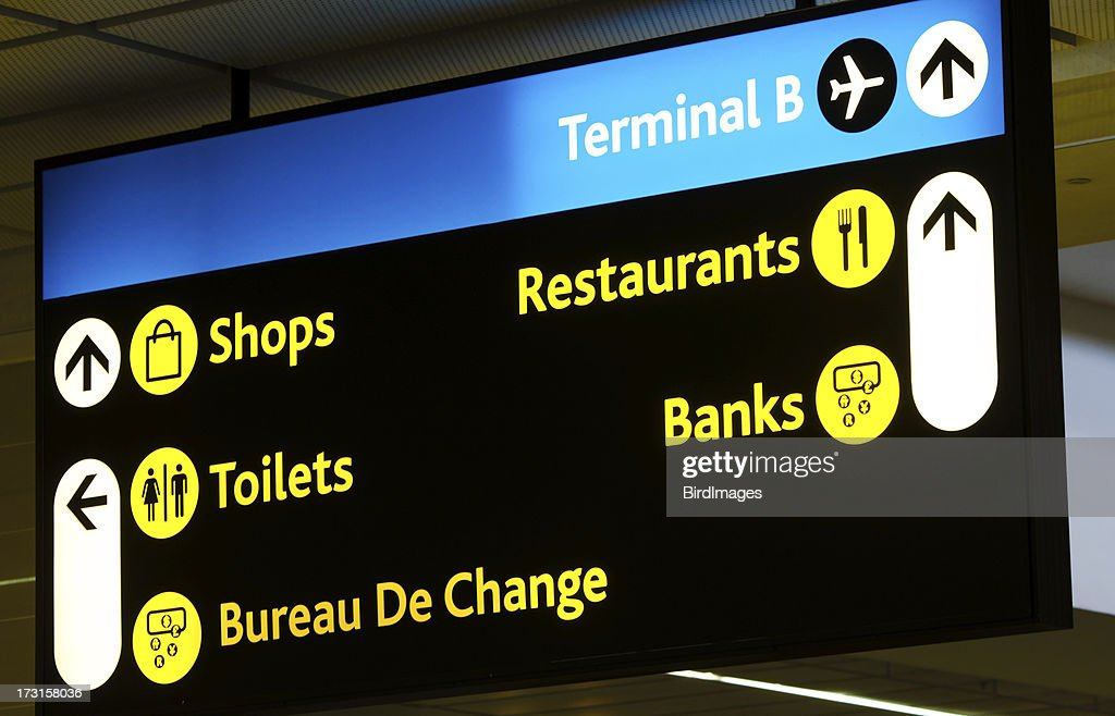 Airport Direction Board : Stock Photo
