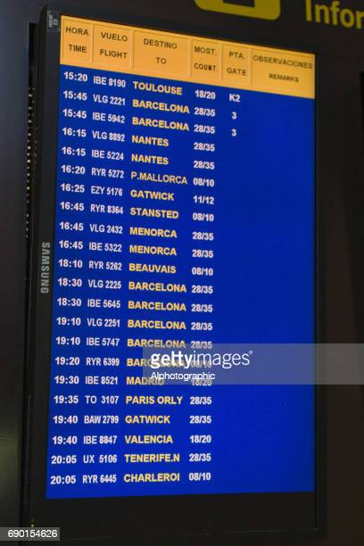 Airport electronic flight arrival and departure information board