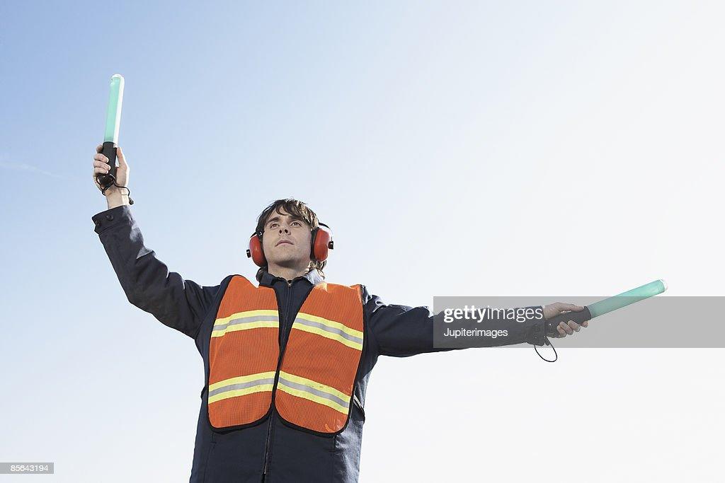 Airport ground crew worker : Stock Photo