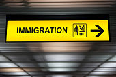 Airport immigration and customs sign