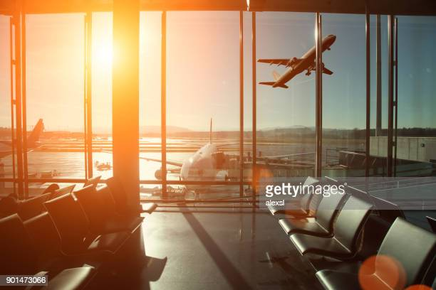 airport interior travel airplane take off - airport stock pictures, royalty-free photos & images