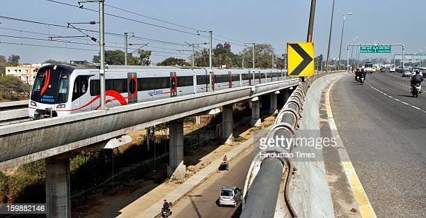 Airport Metro Express take a run after line resumed its operations on January 22 2013 in New Delhi India Commercial operations of the 23km corridor...