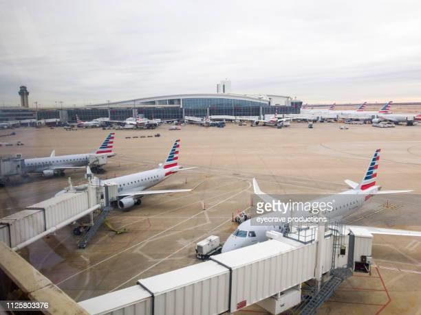 Airport Runway and Aircraft in Dallas Texas DFW