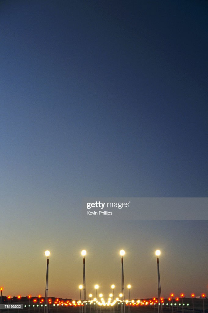 Airport Runway Lights : Stock Photo
