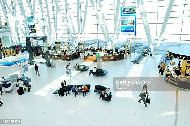 Airport rush in modern airport building in Budapest, Hungary