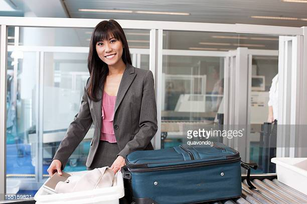 Airport Security, Asian Young Woman on Business Travel, Smiling