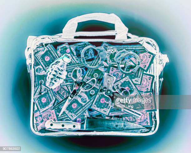 airport security bag x-ray - explosive material stock photos and pictures