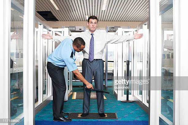 airport security check with young businessman - security scanner stock pictures, royalty-free photos & images