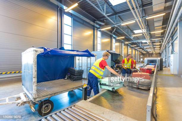airport service crew unloading luggage - crew stock pictures, royalty-free photos & images