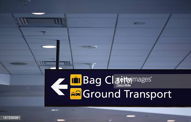 Airport sign for baggage clain and ground transport