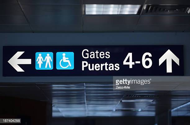 Flughafen Symbol für Tore 4 bis 6 und Toiletten