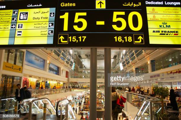 Airport sign in terminal, Dubai, United Arab Emirates