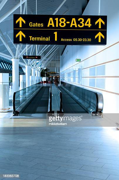 Airport sign shows the way to the gates and terminals