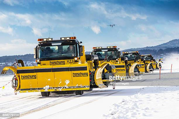 Airport snow removal vehicles
