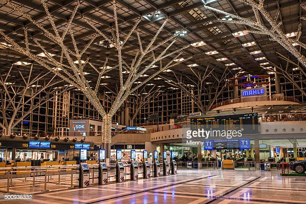 airport stuttgart with christmas decoration germany - stuttgart stock pictures, royalty-free photos & images