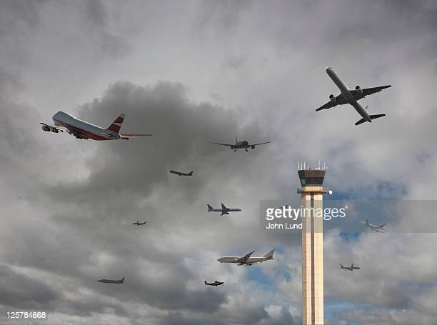 airport traffic jam - control tower stock pictures, royalty-free photos & images