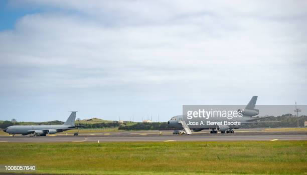 Airport with military freight planes in review for the mechanics. Lajes  airport, in the island Terceira, in the Azores Islands, Portugal.