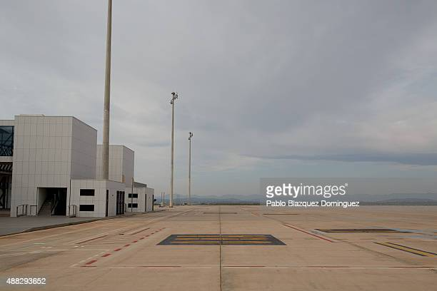 Airport's planes parking area remains empty minutes before the first commercial flight lands at Castellon airport on September 15 2015 near Castellon...