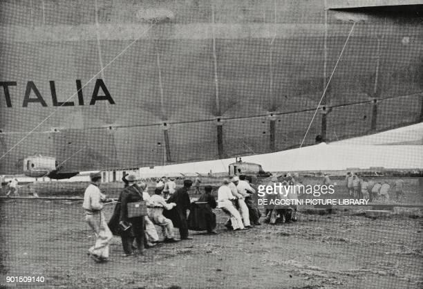 Airship Italia departing for its Polar Mission Baggio Milan Italy from L'Illustrazione Italiana Year LV No 17 April 22 1928