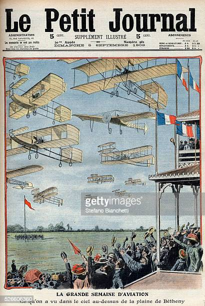 """Airshow held at Betheny, France, illustration from French newspaper """"Le Petit Journal"""" 1909 -"""