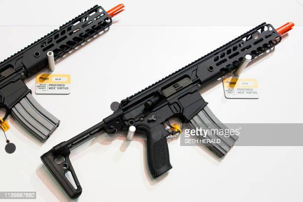 Airsoft rifles used for the recreational sport are displayed during the National Rifle Association 2019 Annual Meetings on Saturday April 27 2019 at...