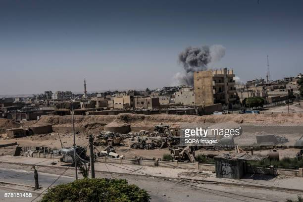 Airstrike hits a position close to the old wall of Old City in Raqqa In Summer 2017 the Syrian Democratic Forces launched a battle against ISIS in...