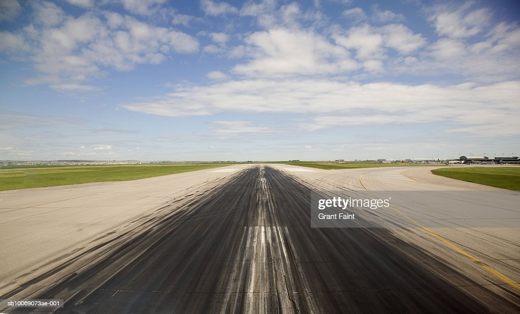 Airstrip with tire marks : Stockfoto