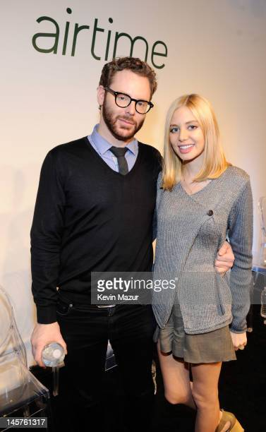 Airtime Cofounder and Executive Chairman Sean Parker and Alexandra Lenas at the Airtime Launch Press Conference at Milk Studios on June 5 2012 in New...