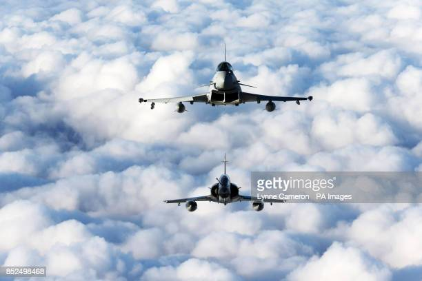 Airtoair stills with RAF and French Air Force fast jets on exercise A C130 Hercules aircraft will be used as a a platform to record RAF Typhoon...