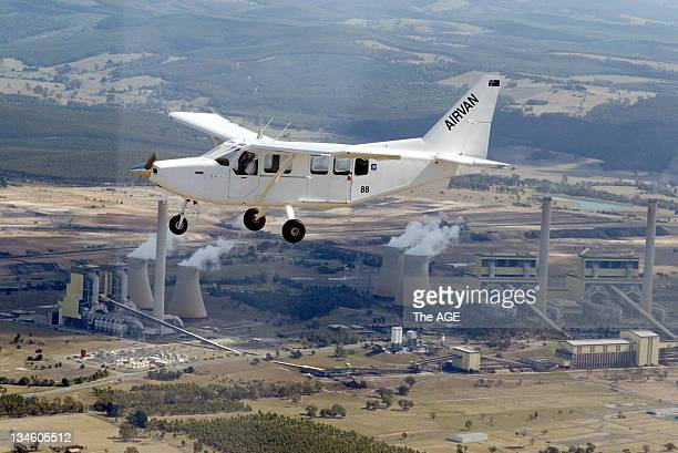 Airvan on test fight over Law Yang power station near Latrobe Regional Airport, Morwell, 23 February 2006.