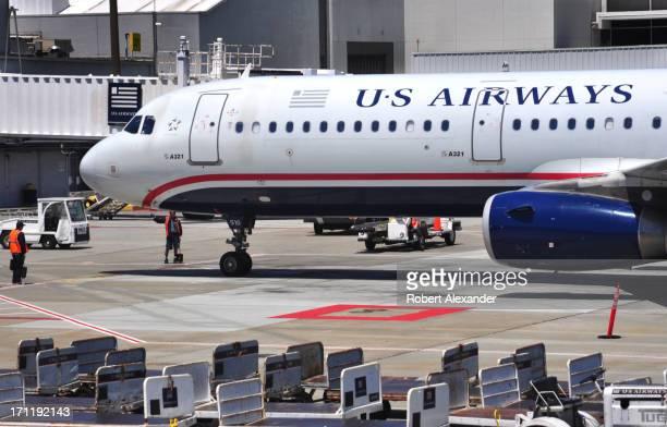 Airways Airbus A321 aircraft arrives at its gate after landing at San Francisco International Airport in San Francisco California