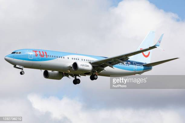 Airways Boeing 737 lands at Newcastle Airport, England on 6th May as the airline ramps up training flights in preparation for the lifitng of...
