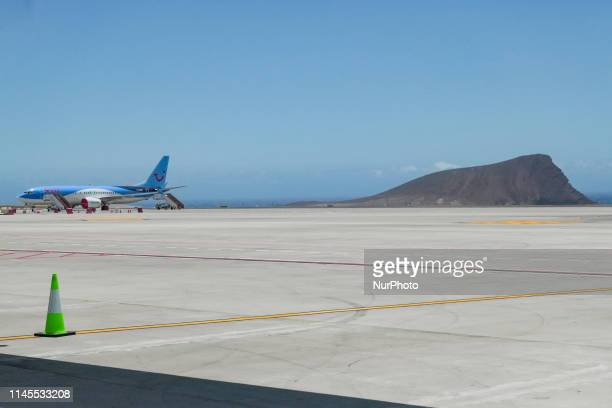 TUI Airways Boeing 737 MAX 8 airplane grounded at Tenerife South Reina Sofia International Airport TSF GCTS in Tenerife Canary Islands in Spain the...