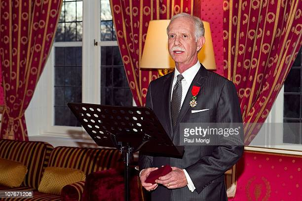 Airways Capt Chesley 'Sully' Sullenberger makes a few remarks after being presented with the National Order of the Legion of Honour Officier Award at...