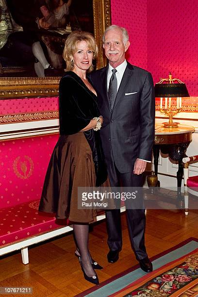 Airways Capt Chesley 'Sully' Sullenberger poses for a photo with his wife Lorrie Sullenberger at the presentation of the National Order of the Legion...