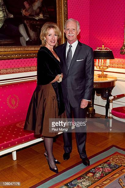 US Airways Capt Chesley 'Sully' Sullenberger poses for a photo with his wife Lorrie Sullenberger at the presentation of the National Order of the...