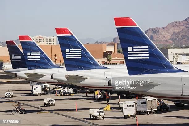 US Airways jets at Phoenix Sky Harbor International Airport US Airways is headquartered in Tempe Arizona and flies to over 198 destinations Phoenix...