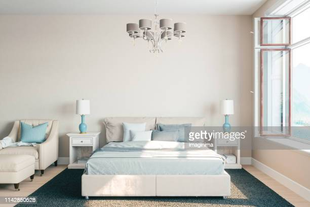 airy bedroom interior with beautiful view - camera da letto foto e immagini stock