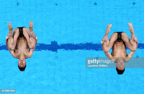 Aisen Chen and Hao Yang of China compete during the Men's Diving 10M Synchro Platform preliminary round on day four of the Budapest 2017 FINA World...