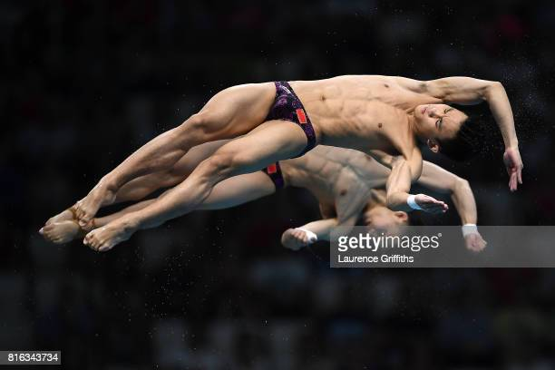 Aisen Chen and Hao Yang of China compete during the Men's Diving 10M Synchro Plaform final on day four of the Budapest 2017 FINA World Championships...