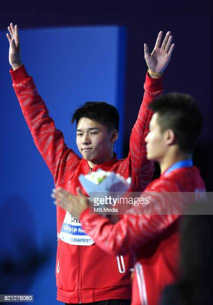 Aisen Chen during the Men's 10M Platform medal ceremony on day nine of the Budapest 2017 FINA World Championships on July 22 2017 in Budapest Hungary
