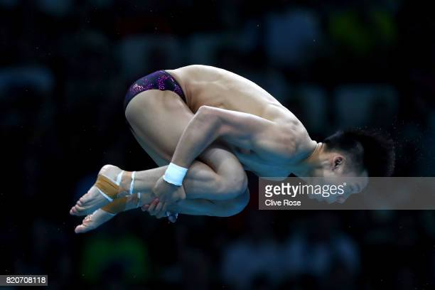 Aisen Chen of China competes during the Men's 10M Platform final on day nine of the Budapest 2017 FINA World Championships on July 22 2017 in...