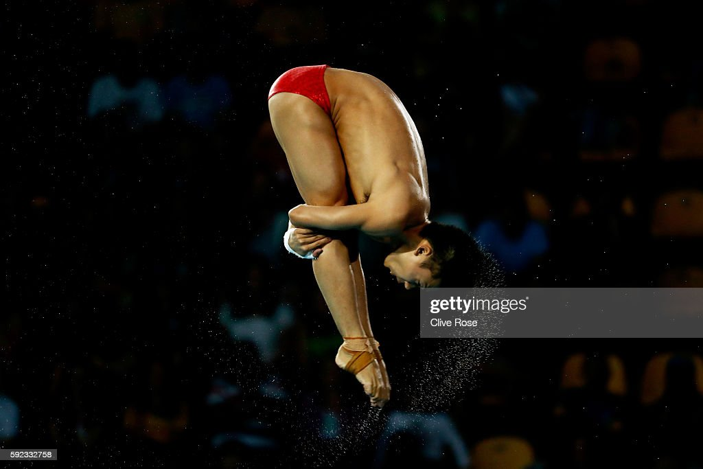 Aisen Chen of China competes during the Men's Diving 10m Platform final on Day 15 of the Rio 2016 Olympic Games at the Maria Lenk Aquatics Centre on August 20, 2016 in Rio de Janeiro, Brazil.