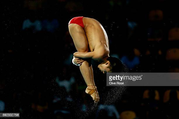 Aisen Chen of China competes during the Men's Diving 10m Platform final on Day 15 of the Rio 2016 Olympic Games at the Maria Lenk Aquatics Centre on...