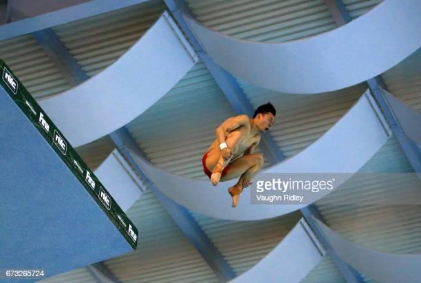 Aisen Chen of China competes in the Men's 10m Semifinal B during the 2017 FINA Diving World Series at the Windsor International Aquatic and Training...
