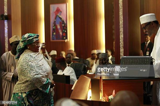 Aisha Alhassan new women affairs minister seen during the swearing in ceremony in Abuja 11 Nov 2015