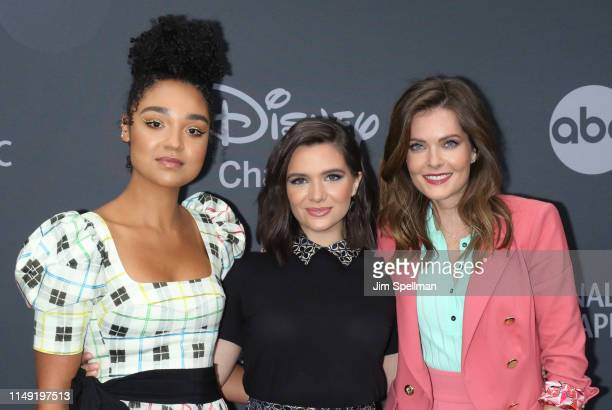 Aisha Dee Katie Stevens and Meghann Fahy attend the 2019 Walt Disney Television Upfront at Tavern On The Green on May 14 2019 in New York City