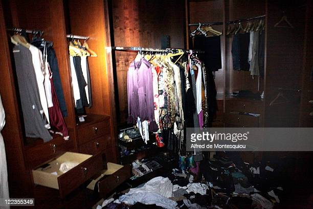 Aisha Gaddafi's dressing rooom filled with hundreds of outfits and shoes on August 27 2011 in Tripoli Libya Houses belonging to the Libyan dictator's...